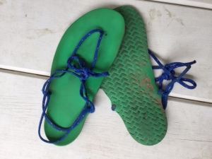 These are the Xero Shoes 6 mm minimalist sandals I ran the race in.